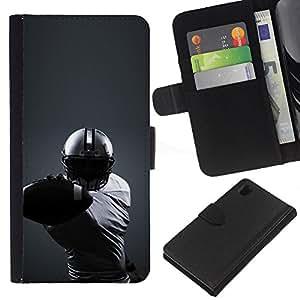 LECELL--Cuero de la tarjeta la carpeta del tirón Smartphone Slots Protección Holder For Sony Xperia Z1 L39 -- Minimalista fútbol --