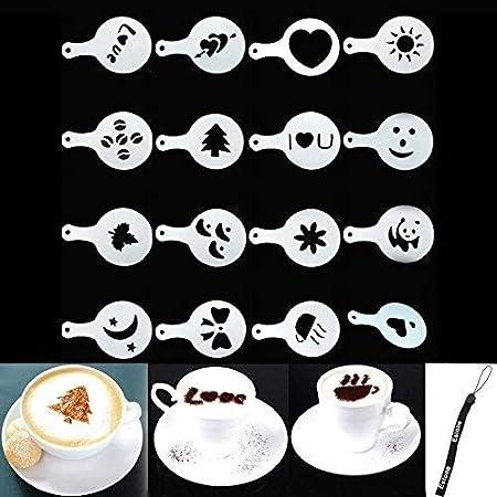 16 diseños diferentes.,Decora tu taza de café de forma graciosa.,Fabricado en plástico seguro y fáci