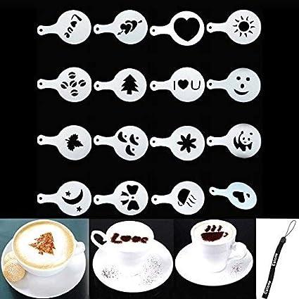 8 unidades Juego de plantillas para decoraci/ón de caf/é SUNXIN