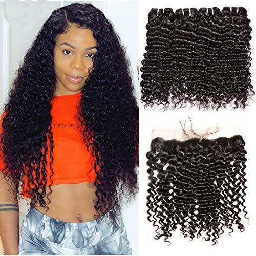 (Brazilian Deep Wave 3 Bundles with Frontal Closure Unprocessed Virgin Brazilian Deep Curly Human Hair Weave Bundles with 13x4 Lace Frontal Closure Human Hair Weave Extensions Natural Black Color)