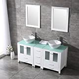 BATHJOY 60'' White Double Wood Bathroom Vanity Cabinet and Ceramic Sink w/ mirror Combo Wash Basin with Faucet