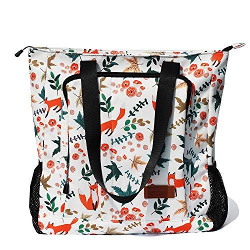 Large Travel Tote Water Resistant Shoulder Bag Lightweight Gym Tote for Men Women Unisex Day Bag (Fox)