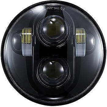 5.75 inch Daymaker LED Headlight DOT Bulbs Lights Kit for Harley Davidson Dyna Street Bob Super Wide Glide Low Rider Night Rod Train Softail Deuce Custom Sportster Iron 883 Motorcycle Headlamp Black