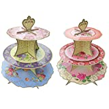 Tea Baby Tea Easter 3 Layers Paper Cake Stand 2 Sides Wedding Dessert Cardboard Stand Tea Time Candy Dish Cake Rack Baby Shower Party Supplies
