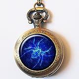 Vintage Black Widow Spider Casestars Blue Sparkle Insect Quartz Pocket Watch