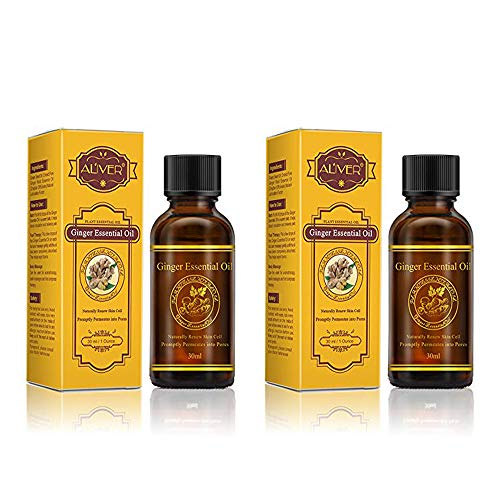 Aliver Lymphatic Drainage Gingerl Oil 100% PURE Natural Ginger Boy Massage Oils Plant Massage Oil 30 ml(2Pack)