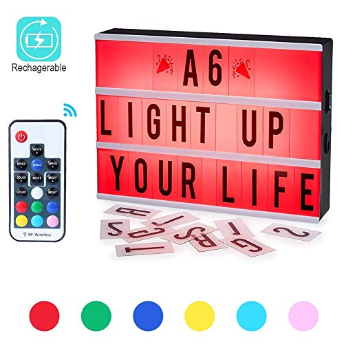 Mini Light Box,ROTEK A6 Wireless 1200mA Built-in Battery Light Box 7 Colors Remote-Controlled Combination DIY LED Cinema Light Box with 140 Letters for Wedding,Birthday,Halloween Dorm Room Decoration