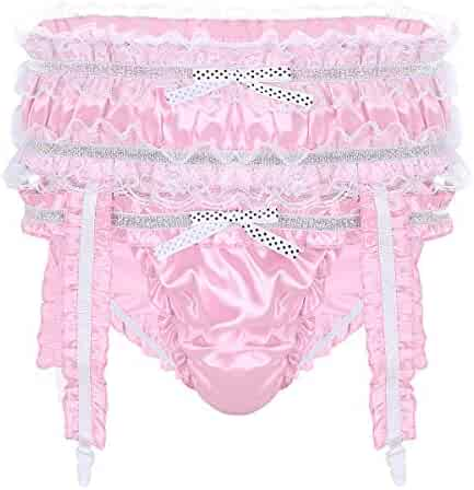 53faf17e3610 iEFiEL Mens Lingerie Soft Shiny Satin Ruffled Frilly Low Rise Sissy Bikini Briefs  Panties with Garters
