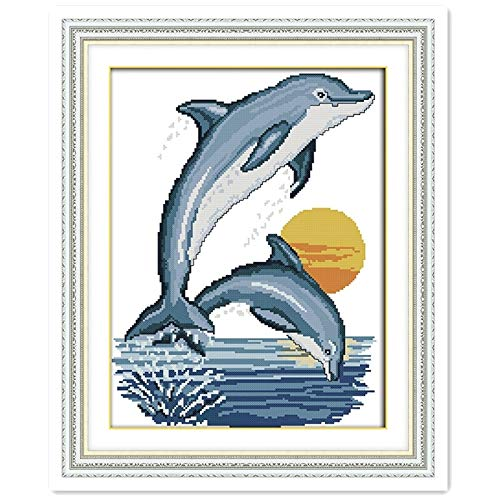 - Two Little Dolphins Chinese Counted Cross Stitch Pattern 11CT Printed On Canvas Embroidery Cross Set DIY Set Cross Stitch Kits