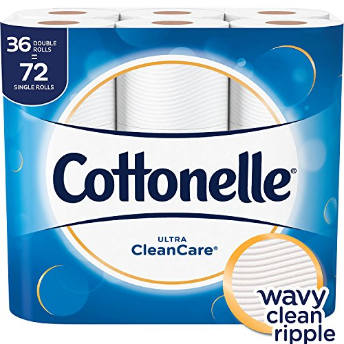 Cottonelle Ultra CleanCare Toilet Paper, Strong Biodegradable Bath Tissue, 36 Double Rolls
