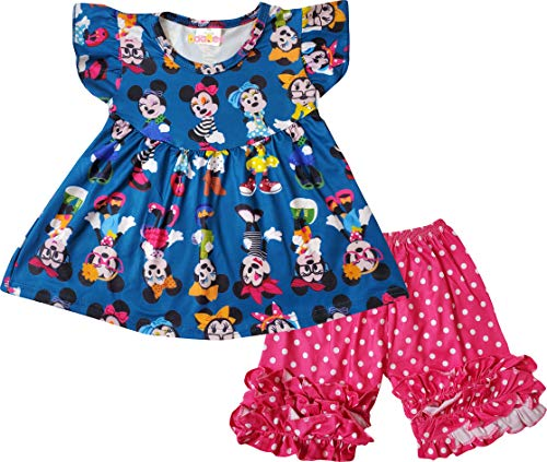 Boutique Little Girls Disney Minnie Mouse Back to School Top Capri Outfit Navy/Fuchsia 4/L]()