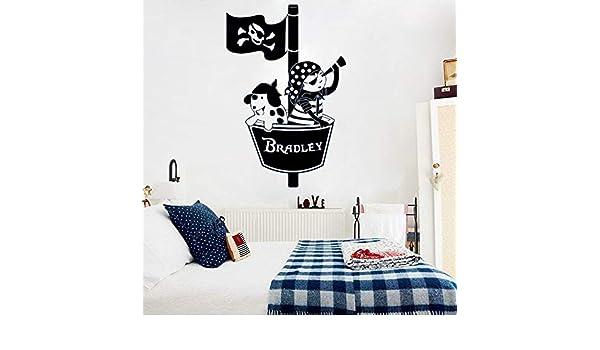 ganlanshu Nombre Personalizado PirateS Nest Cartoon Vinilo Etiqueta de la Pared Nombre Personalizado para niños Habitación Calcomanías extraíbles 84cmx127cm: Amazon.es: Hogar
