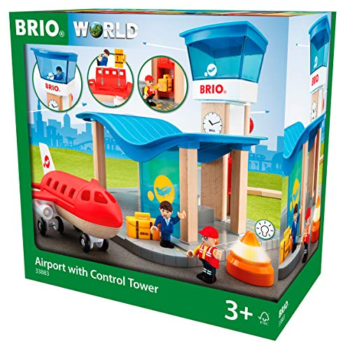 Brio World 33883 - Airport with Control Tower - Wooden Train Set Accessory - Compatible with All Wooden Train Sets