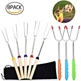 Marshmallow Roasting Sticks Extendable Hot Dog Roasting Sticks for Campfires 8pcs Telescoping Stainless Steel Barbecue Forks