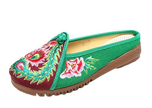 ICEGREY Damen Handgemachte Gestickte Stickerei Blumen Clog Slipper Schuhe Grün
