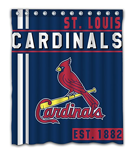 - St. Louis Baseball Team Emblem Waterproof Shower Curtain Blue Design Polyester for Bathroom Decoration 60 x 72 Inches with 12-Pack Plastic Hooks