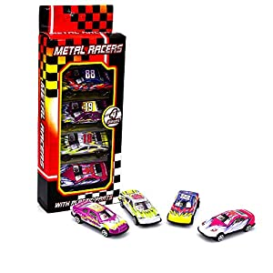 KandyToys Kids Die Cast Metal Toy Cars – 4 Piece Racing Cars, Convertible Toy Car Pack
