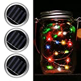 Cheap iBetterLife 3-Pack Color Changing Solar Mason Jar Lid Light Insert – Battery Operated Mason Jar LED Fairy Screw on 2.76″ Silver Lid, Outdoor Patio Party Weeding Decors (Jars NOT Included) (Multicolor)