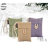 TONGJI Natural Air Purifying Bamboo Charcoal Deodorizer Bag Portable Air Freshener for Fridge, Freezers, Closet, Car & Shoes