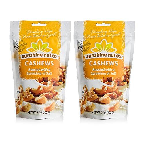 Sunshine Nut Company 'Sprinkling of Salt' Cashews, Peanut Free, Gluten Free, GMO Free, 7 oz, Pack of 2