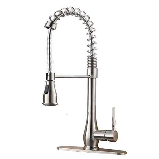 VESLA HOME Stainless Steel Spring Brushed Nickel Pull Down Sprayer Single  Handle Kitchen Faucet, Pull Out Kitchen Sink Faucet
