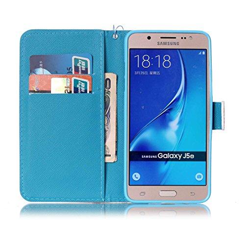 Para Smartphone Samsung Galaxy J5(2016) J510móvil, Funda de piel para Samsung Galaxy J5(2016) J510Flip Cover Funda Libro Con Tarjetero Función Atril magnético + Polvo Conector negro 3 8