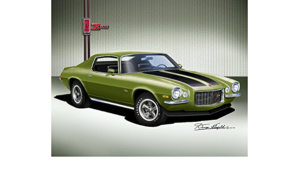 Man cave decor Camaro 1970s Camaro wall art Chevrolet Camaro 2nd gen 1970 Poster Dark Green