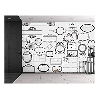 Original Creation, Astonishing Piece, Black Fancy Borders on a White Background Wall Mural