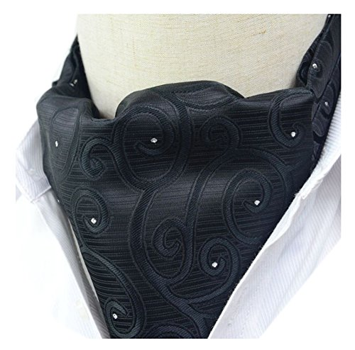 Secdtie Mens Black or White Floral 100% Silk Cravat Ties Jacquard Woven Ascot