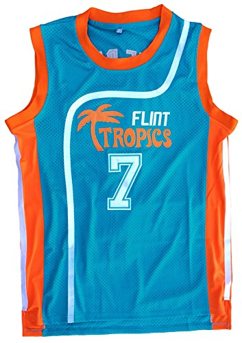 Coffee Black #7 Flint Tropics Semi Pro Basketball Jersey Retro Throwback S-XXL (Green, Large) (Throwback Green Jersey)