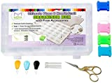 Ultimate Floss and Needle Threader Organizer – Embroidery Thread Box–Arts Crafts Organizer-Includes:Gold Plated Look Stainless Steel Scissors for Embroidery,Threaders,Bobbins and other Gifts