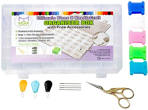 Ultimate Floss and Needle Threader Organizer  Embroidery Thread BoxArts Crafts Organizer-Includes:Gold Plated Look Stainless Steel Scissors for Embroidery,Threaders,Bobbins and other Gifts