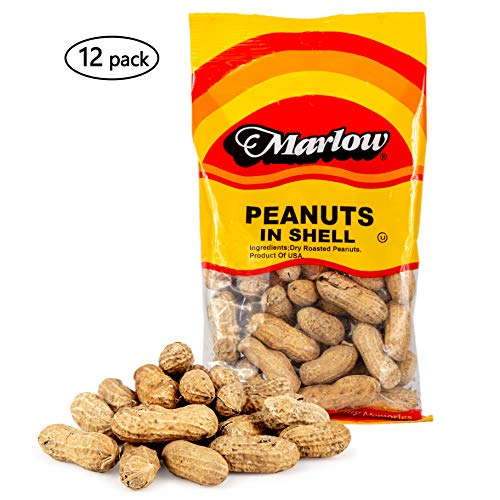 Peanuts in Shell, 12 Pack - Dry Roasted Raw Shelled Peanuts - Grab and Go Snack Pack - 4 Ounce Bags - By Marlow
