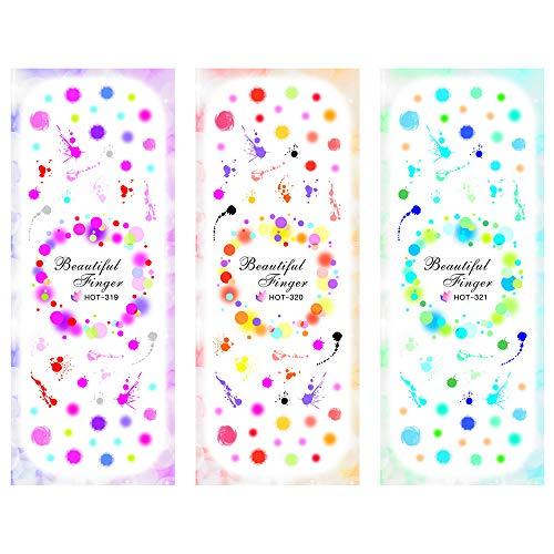 3 Packs/LOT Round Bubble Graffiti Nail Cross Tattoos Sticker Water Decal Nail Art HOT319-321]()
