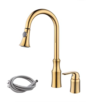 KES BRASS Pull Down Kitchen Faucet Gold Single Handle 2 Hole Modern  Commercial Pullout Sink Faucet Swivel High Arc Gooseneck Pulldown Sprayer  Head ...