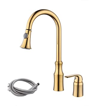 Kes Brass Pull Down Kitchen Faucet Gold Single Handle 2 Hole Modern