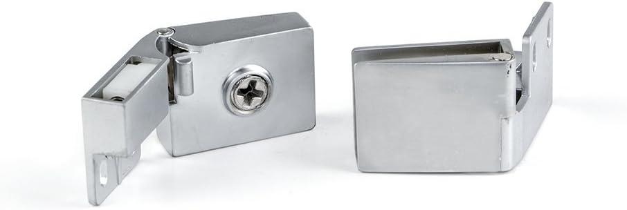 Lote de 2 bisagras Emuca para puertas de cristal interiores canto en acabado cromado mate: Amazon.es: Bricolaje y ...