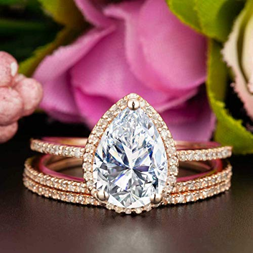 (2 Carat Pear Shape Moissanite and Diamond Halo Trio Wedding Ring Set On Rose Gold with Engagement Ring and Two Wedding Bands)