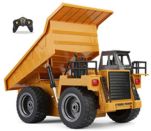 Top Race 6 Channel Full Functional Dump Truck, RC Remote Control Construction Dump Truck with Lights & Sounds 2.4Ghz (TR-112G) (Monster Sound Truck)
