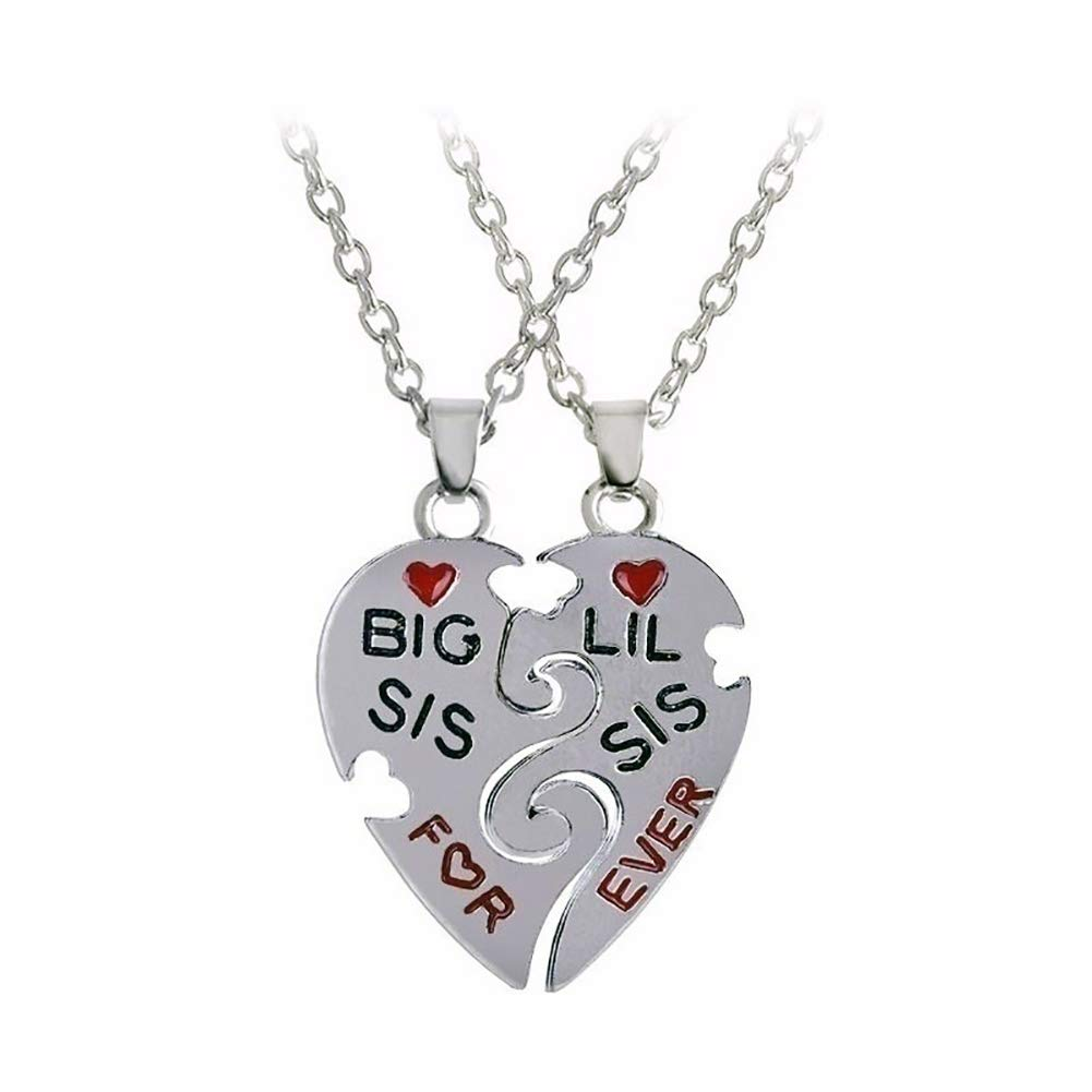 ywbtuechars 2Pcs Women Friendship Jewelry Fashion Charm Heart Letter Pendant Necklace Chain - Silver