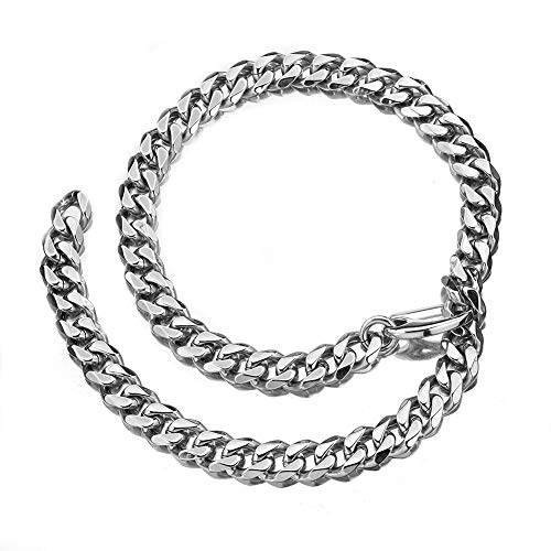 (Cuban Link Chain Adjustable Choker with Tail Hip Hop Miami 15mm Big Stainless Steel Curb Rapper Necklace for Men 24in)