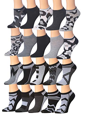 Tipi Toe Women's 20 Pairs Colorful Patterned Low Cut/No Show Socks (NS103-141)
