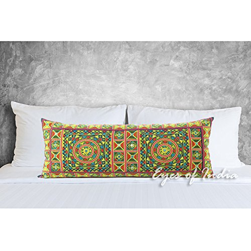 Velvet Crewel Pillow (Eyes of India 14 X 32 Yellow Embroidered Colorful Decorative Bolster Long Lumbar Sofa Couch Pillow Cushion Throw Cover Bohemian Indian Boho)