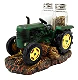 "Atlantic Collectibles Old Fashioned Green Farm Harvest Tractor Decorative Glass Salt Pepper Shakers Holder Resin Figurine 6.75""L"