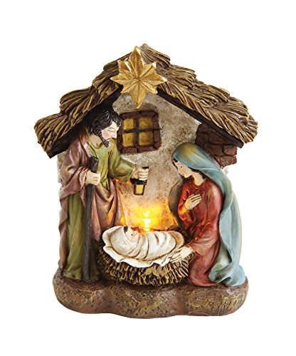 Creative Co-Op XM0984 O Holy Night 4.5'' H Resin Holy Family in Nativity with LED Light by Creative Co-op