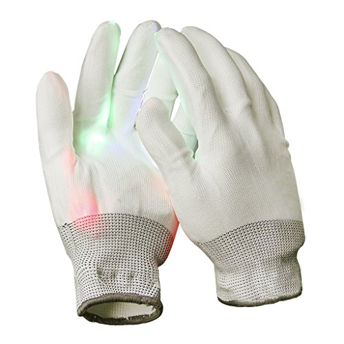 Adult Colorful Flashing Finger LED Light up Rave Gloves Toys with 6 Modes for Clubs, Raves, Birthday, EDM, Disco, Bonfire Night, Halloween Costume Christmas Party Magic Props Knit Lighting Gloves Gift