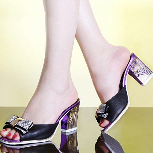 Cómodo Zapatillas de deporte femeninas del cuero del desgaste de la manera del verano de los altos talones Rhinestone con los deslizadores gruesos y secos (3 colores opcionales) (tamaño opcional) Aume C