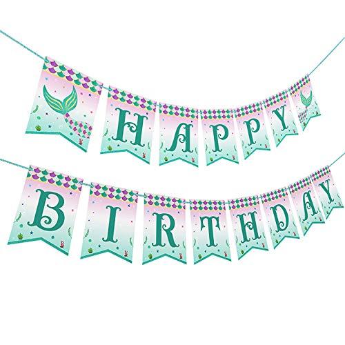 Birthday Banner Designs - Mermaid Party Decorations Happy Birthday Banner Design with Glitter (Mermaid Banner)