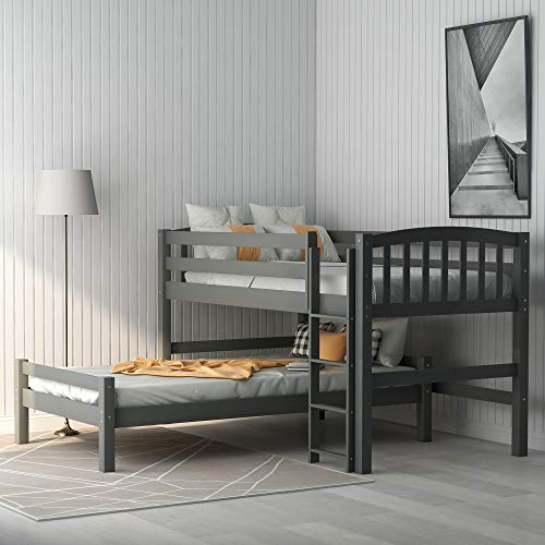 Twin Over Twin Loft Bunk Bed, Baysitone Loft System Twin-Over-Twin Bunk Bed Wood with Ladder and Guardrails, Can Be Separated Into 2 Beds, No Box Spring Needed, Easy Assembly (Gray)