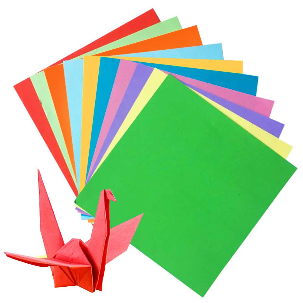 Origami Paper,200 Sheets Large Origami Paper 50 Vivid Colours Single Sided for Arts and Crafts Projects (20x20cm/8'',15x15cm/6'' Each Size 100 Sheet)
